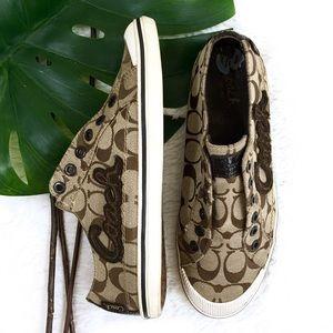 Coach Keeley Khaki Chestnut Canvas Sneakers